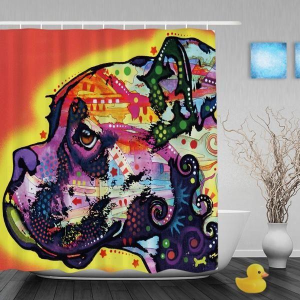 Modern Urban Boxer Dog Shower Curtain