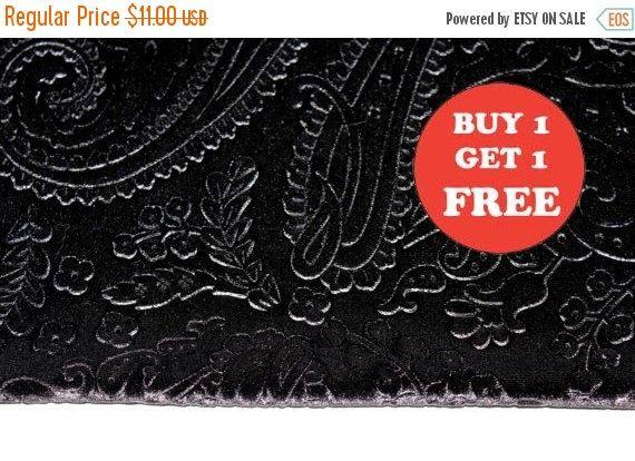 ON SALE Black Paisley Design Velvet Fabric Buy 1 Get 1 FREE
