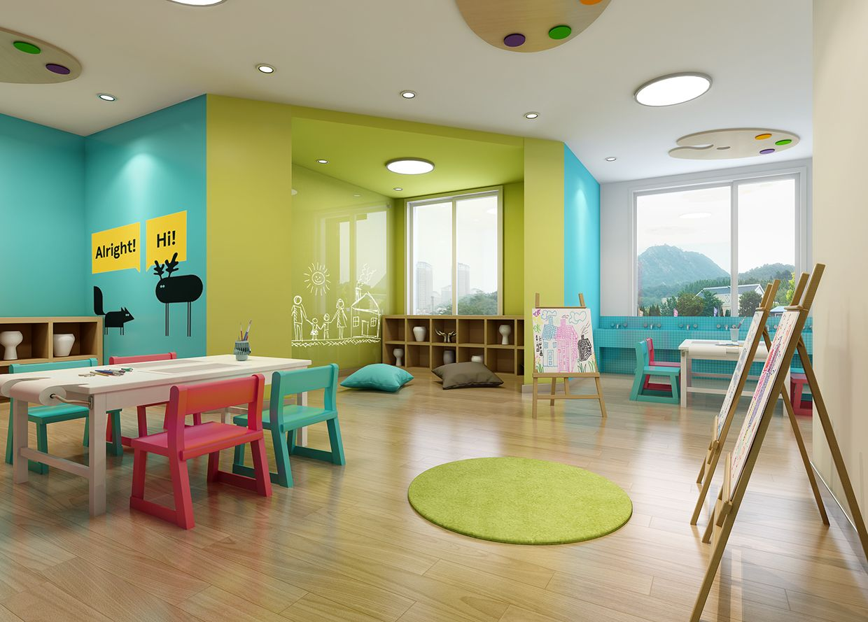 Modern Classroom For Kids ~ Nanjing space preschool and kindergarten design on