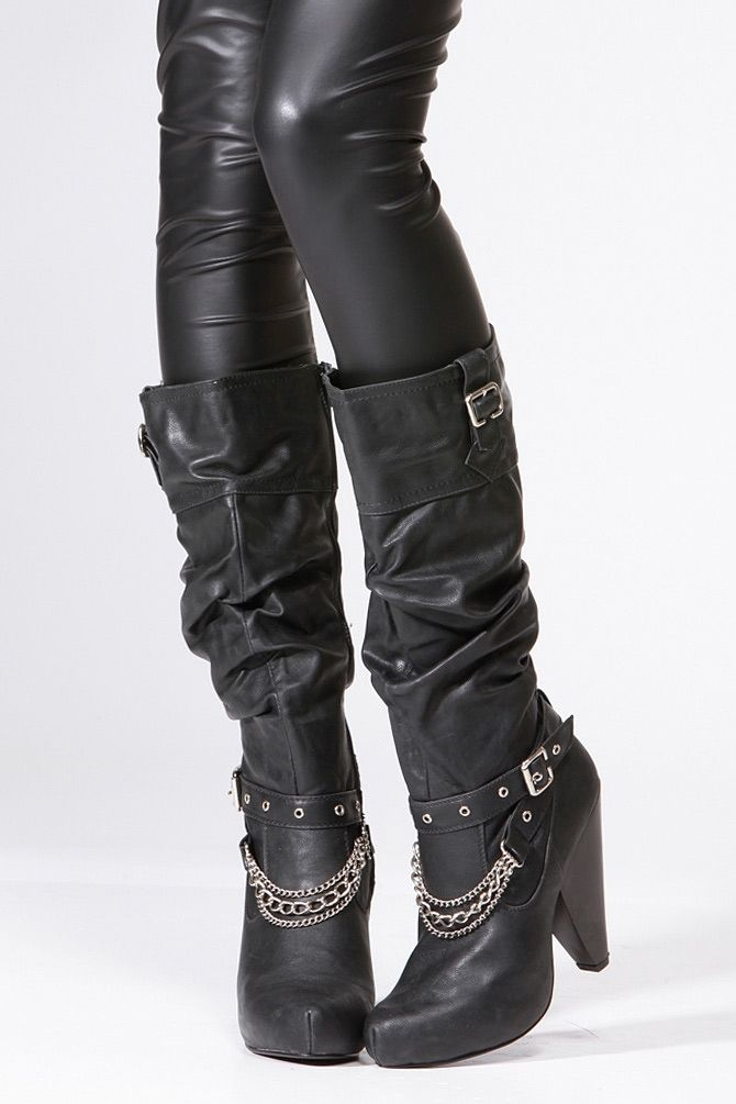 Qupid Black Chain Knee High Boot @ Cicihot Boots Catalog:women's ...