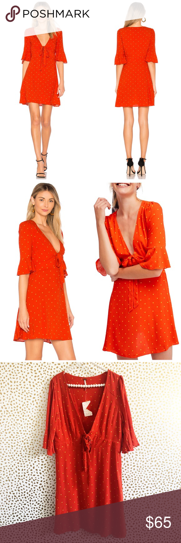 210ec9c065e New Free People All Yours Polka Dot Mini Dress Brand new with tags! Size  12. Red orange. 100% rayon Unlined Tie front closure Hidden side zipper  closure ...