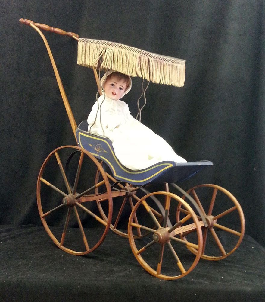 Vintage Toy Stroller Antique Victorian 1800 S All Wood Doll Stroller Carriage