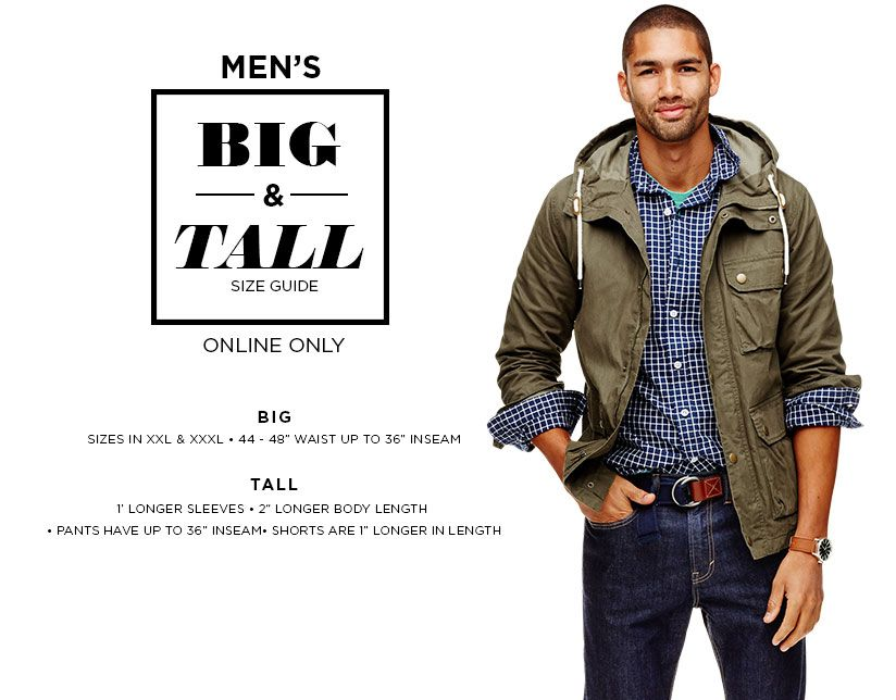 cd8d55c6654a Men s Big   Tall size guide. Online Only. Tall  1