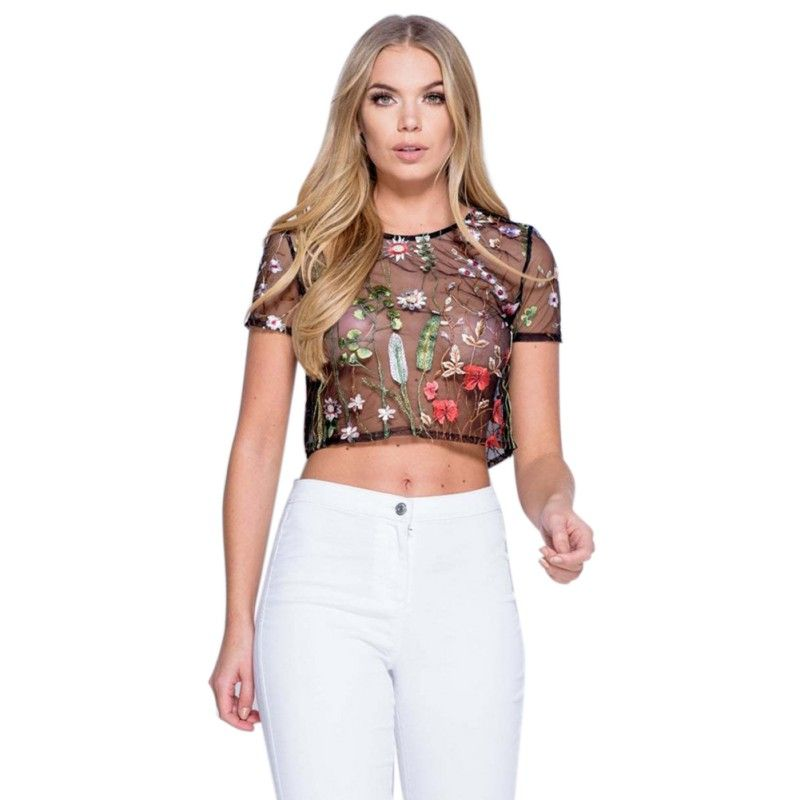 Short Sleeve Women T-shirts Gauze Water Flower Embroidered Mesh Fabric  Floral Fashion Sexy Crop Top Summer Hot Selling