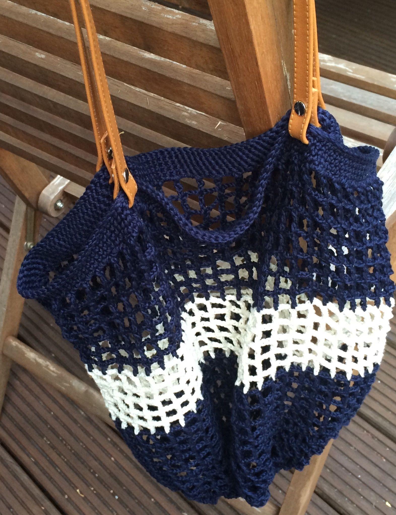 Einkaufsnetz Häkeln Mit Griffen Lederriemen Crochet Bags