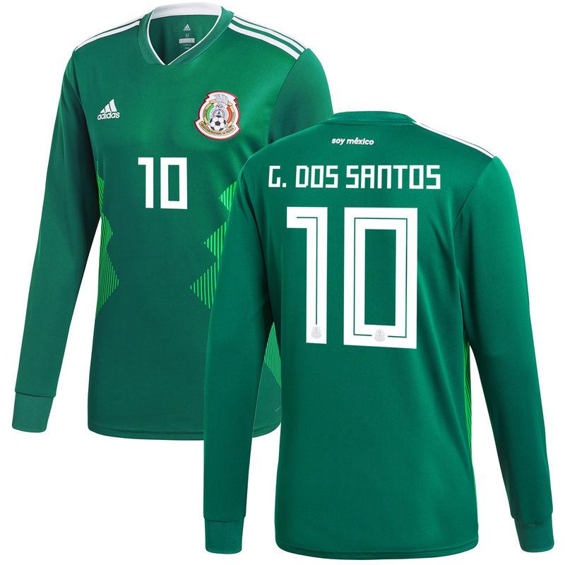 07116e6eb Giovani dos Santos Mexico National Team adidas 2018 Home Replica Long  Sleeve Jersey - Green