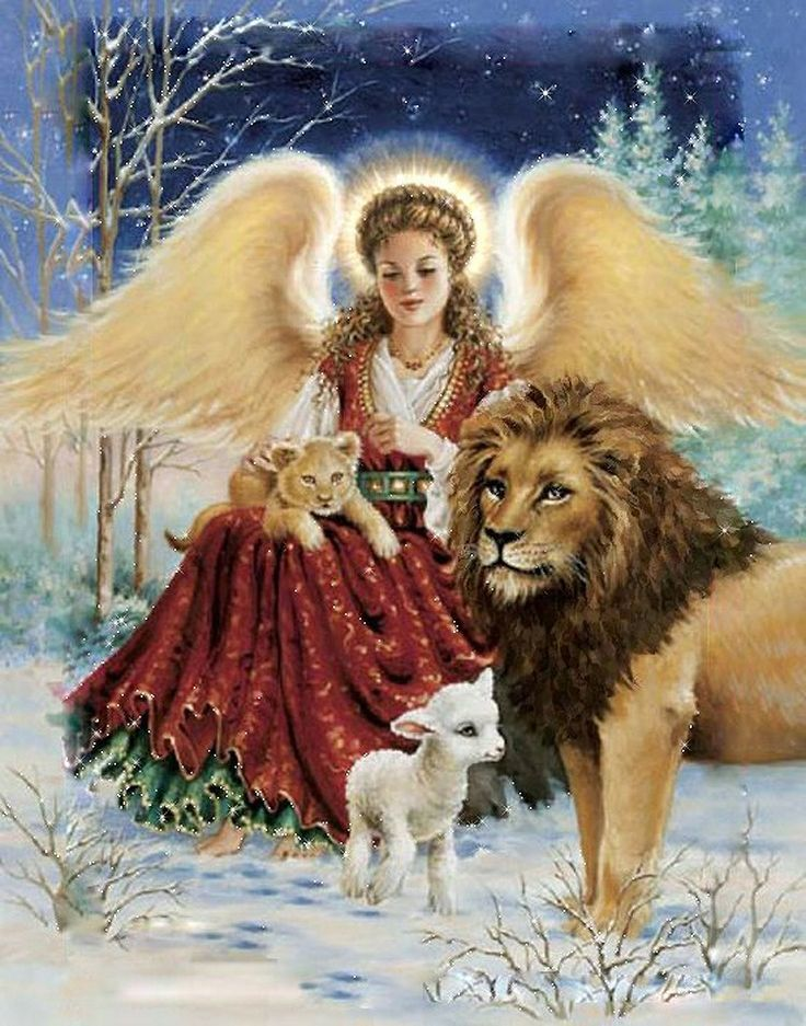 Angel with fierce animals who tamed