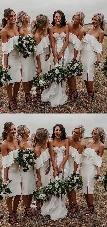 Elegant White Bridesmaid Dress With Split Fashion Off The Shoulder Wedding Pa Knee Length Bridesmaid Dresses Short Bridesmaid Dresses White Bridesmaid Dresses