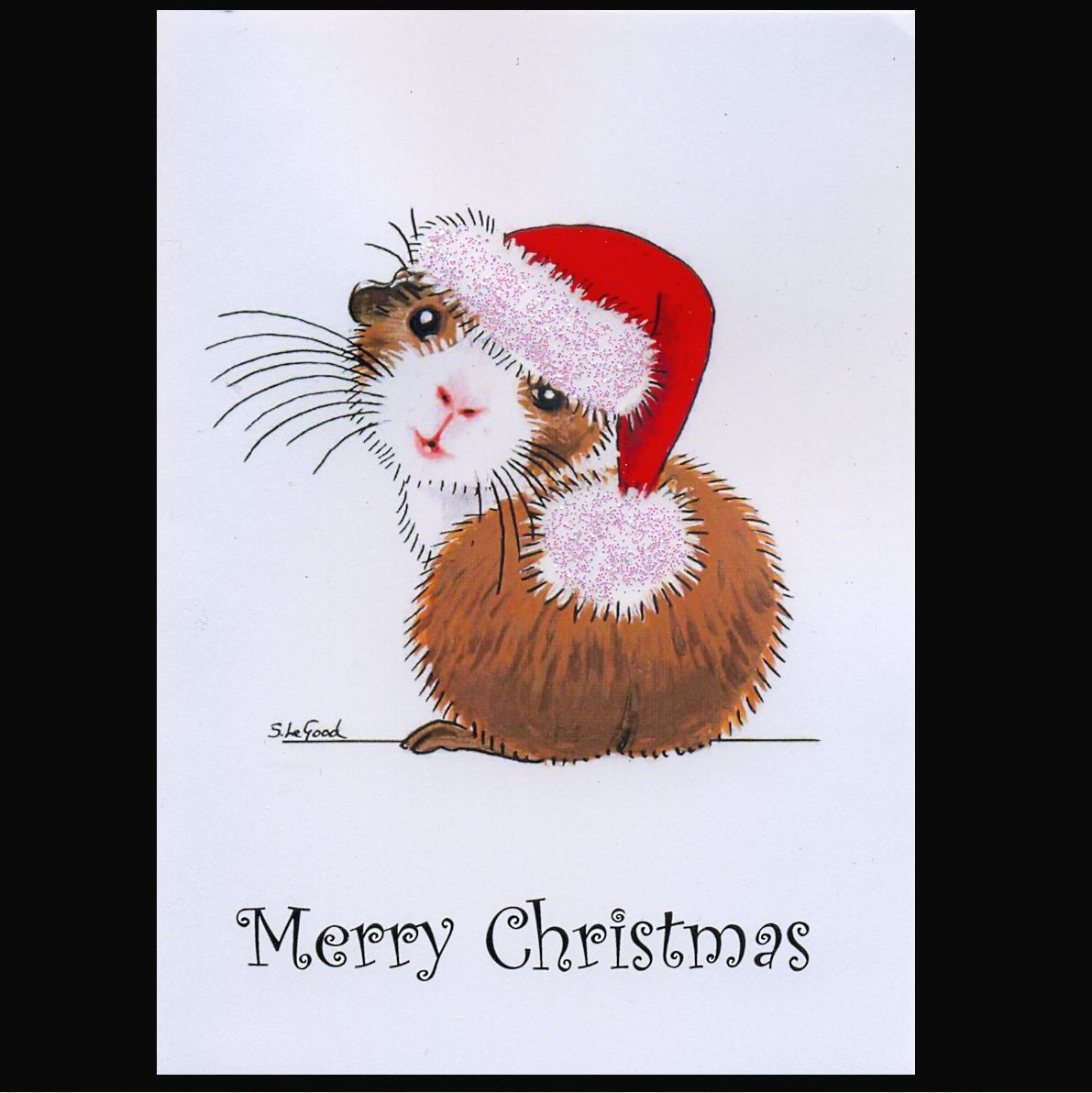 Guinea Pig art Christmas cards 6 pack from original painting by ...