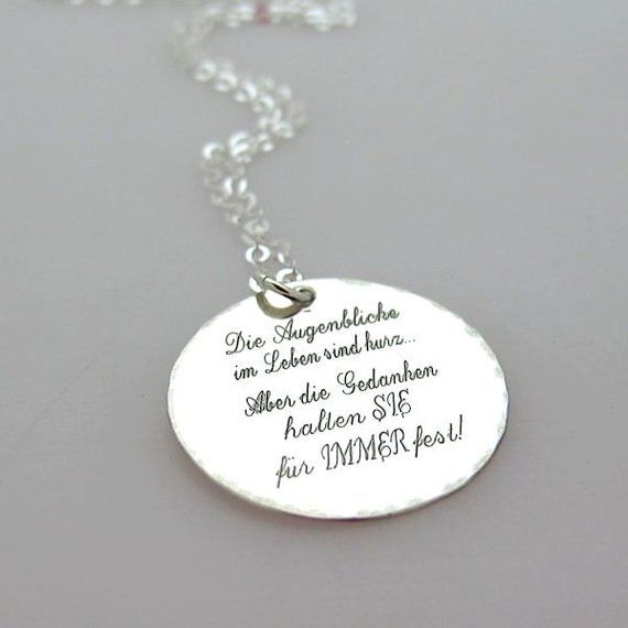 Inspirational Quote Necklace Personalized Silver Pendant