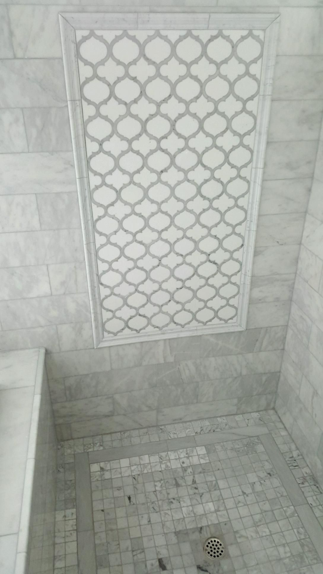 Pin By Joan Chase On Reno Hexagon Tile Bathroom Floor Marble Bathroom Floor Hexagon Tile Bathroom
