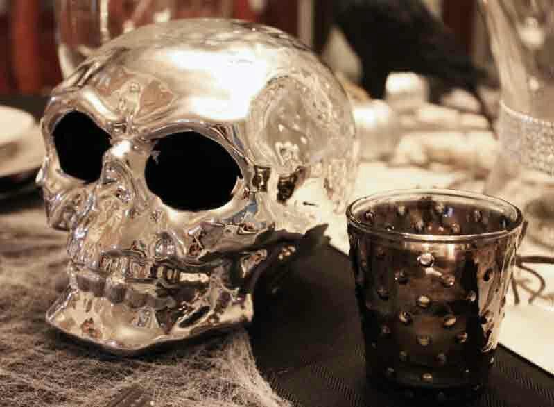 Chrome Skull Decor