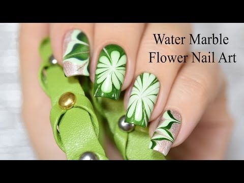 Water Marble Flower Nail Art - YouTube