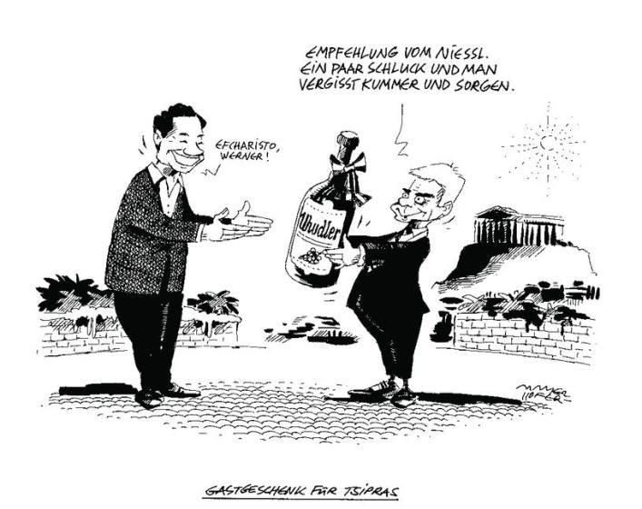"""OÖN-Karikatur vom 17. Juni 2015: """"Gastgeschenk für Tsipras"""". Mehr Karikaturen auf: http://www.nachrichten.at/nachrichten/karikatur/ (Bild: Mayerhofer)"""