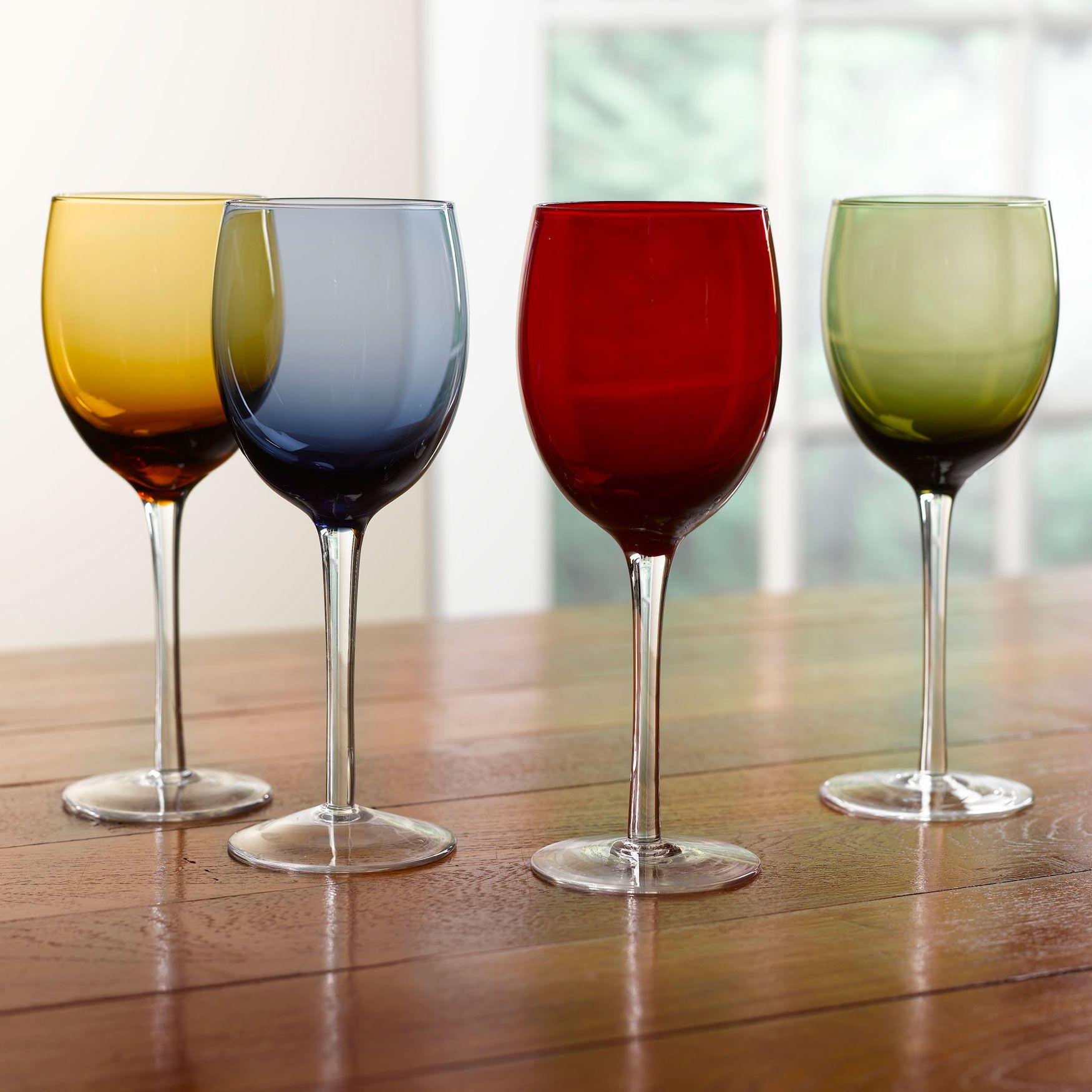 Set Of 4 Jeweltone Glass Goblets Dining Entertaining Brylanehome Indoor Outdoor Furniture Goblet Wine Glasses Colored Wine Glasses
