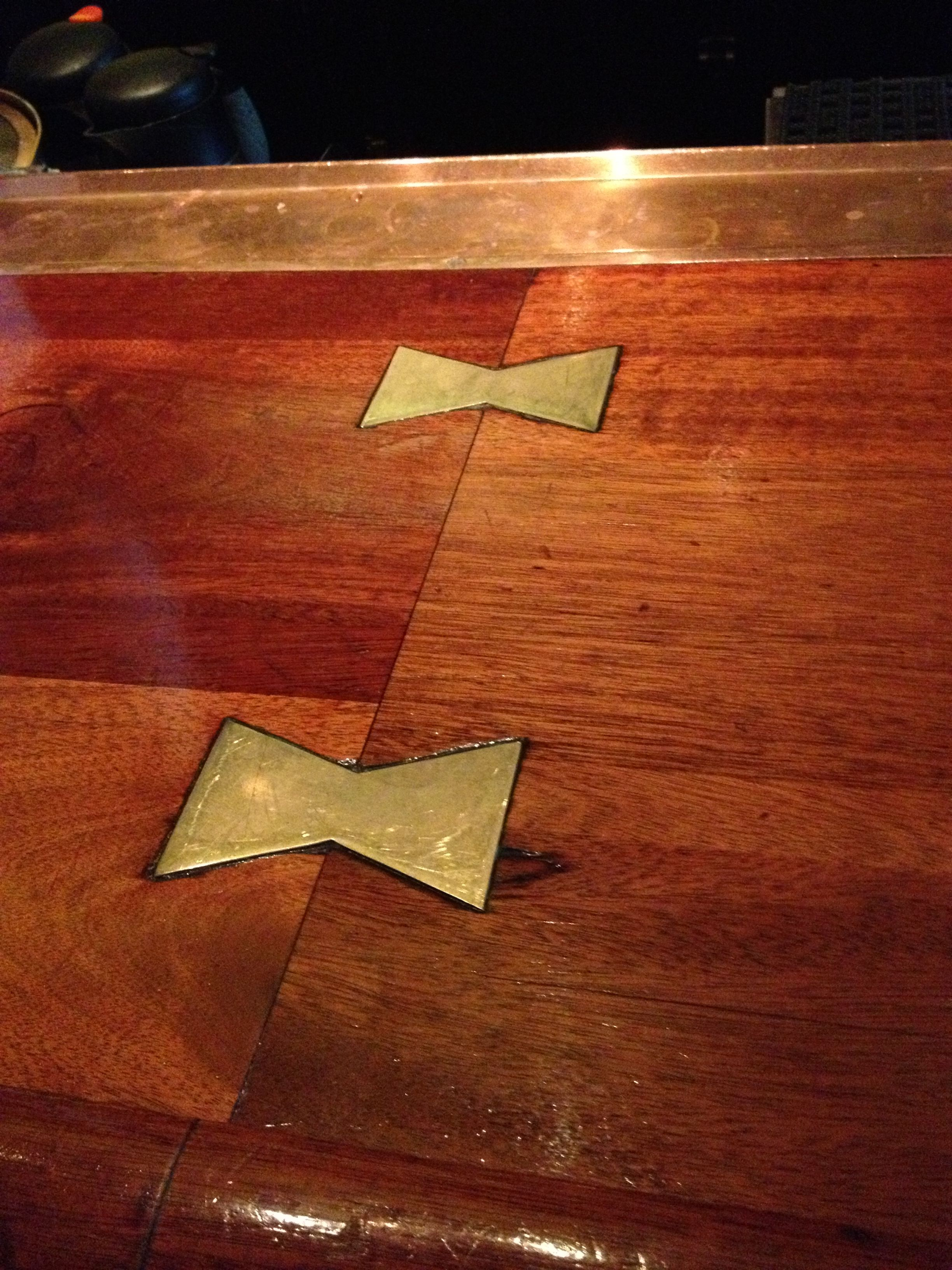 Brass Bow Tie Joints Joinery Adams Furniture