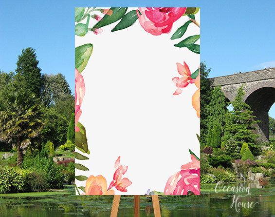 Floral Wedding Welcome Sign, Flower Wedding Sign, BLANK Template ...