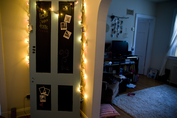 Doing this on Alice's Door...as soon as I get Landlord approval.  What kid doesn't want a magnetic Chalkboard for a door?  Answer:  No Kid.