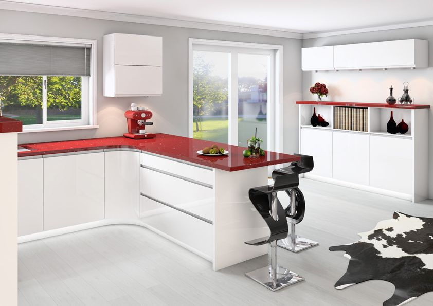 White gloss kitchen new fully fitted kitchens in for Contemporary fitted kitchens