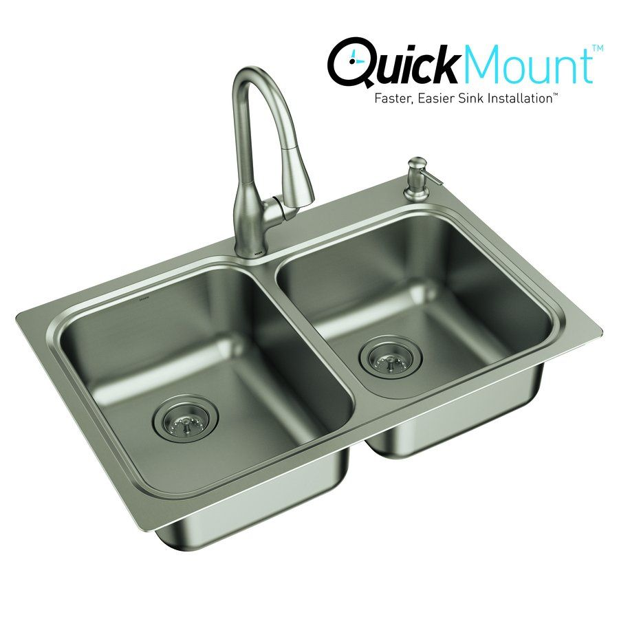 Moen Kelsa 33-in x 22-in Stainless Steel Double-Basin Drop-in or ...