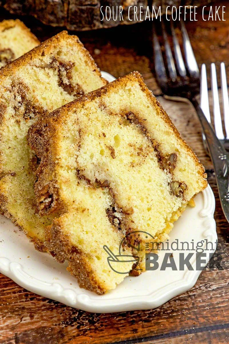 Sour Cream Keeps This Delicious Spicy And Nutty Coffee Cake Moist Perfect For Breakfast Or Any Time Sour Cream Coffee Cake Coffee Cake Recipes Coffee Cake