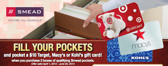 Smead Rebate: Get a $10 gift card with qualifying purchase of Smead brand products. Expires 6/30/2014 Rebate details: http://www.biggestbook.com/dyn/rebates/content/smead_pocketgiftcard_4.1-6.30.pdf Shop at: http://www.officezilla.com/search.aspx?searchterm=smead%20easy%20grip%20and%20Supertab #office #work #rebate
