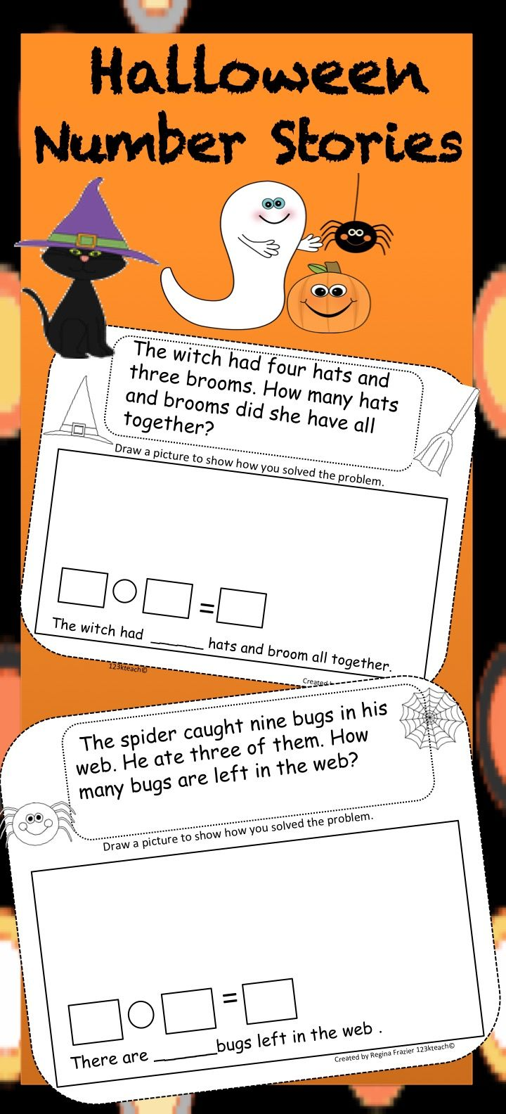 Students Will Enjoy Solving Halloween Addition And Subtraction Number Stories These Number Stories Use Sums A Math Story Problems Number Stories Word Problems [ 1584 x 720 Pixel ]