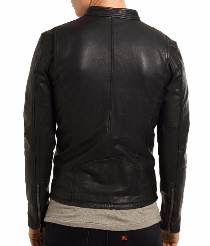 Classic Biker Stylish Jacket Lambskin Black Mens Genuine Leather RFXYBX