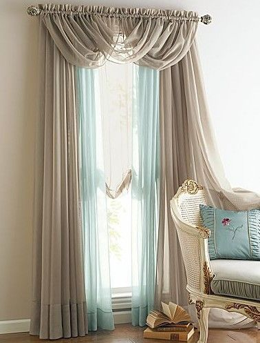 New 4 Panels Elegance Sheer Voile Curtains With 3 Scrafs