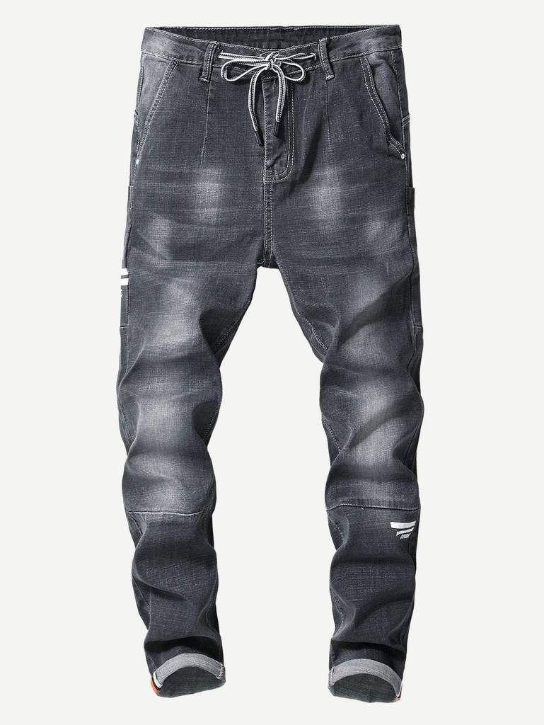 11ab9c461 Men Cut And Sew Panel Drawstring Jeans in 2019 | Men's Pants ...