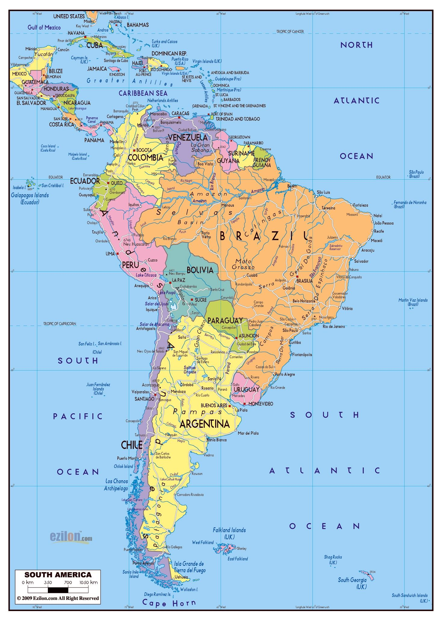 Latin America Map With Cities Major Cities Of North