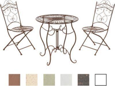 Garten Sitzgruppe INDRA, Metall (Eisen) Design Antik, Tisch Rund Ø 70