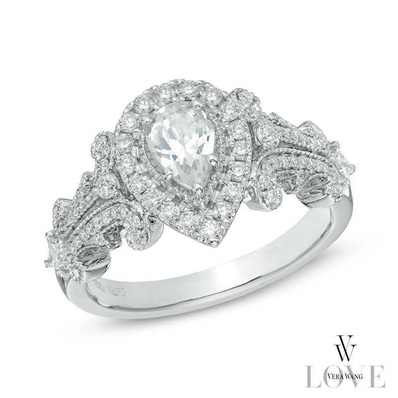ive tagged a product on zales vera wang love collection 1 ct pear shaped diamond frame engagement ring in white gold - Wedding Rings Zales