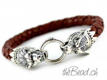 TIGER vs. LION, bracelet made of braided leather and 925 sterling silver