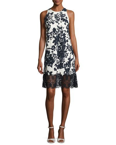 Carmen marc valvo floral-jacquard cocktail dress