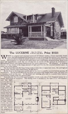 The Lucerne Modern Bungalow Style of the 1910s Swiss Chalet Lewis Manufacturing Kit Homes