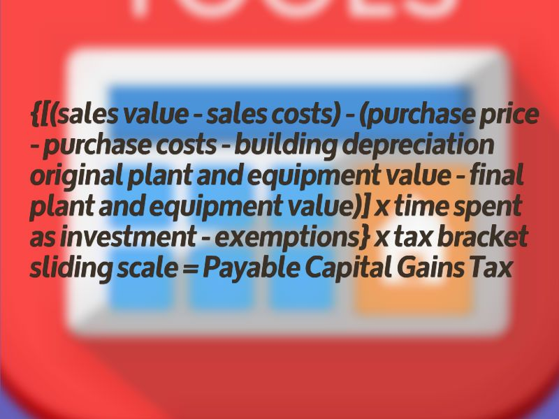 equation for calculating capital gains tax sales value sales