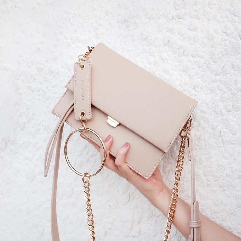 Nude Square Handbags Flap Chain Bag with Metal  #bag #outfitoftheday #lookofthed...