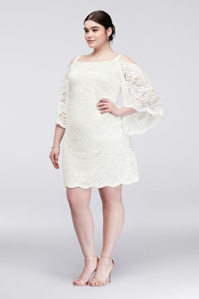 Cold-Shoulder Lace Plus Size Sheath Dress - Ivory, 20 ...