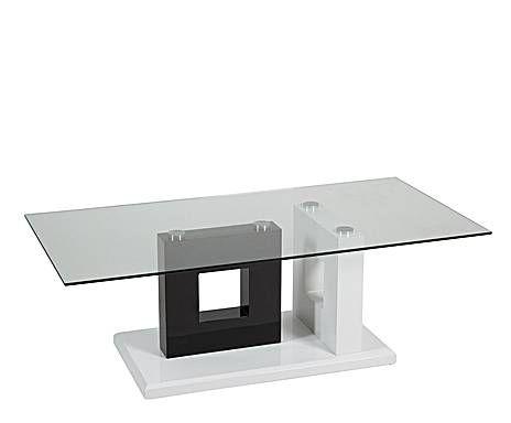 Tiempos modernos mesa de centro en mdf y vidrio cuadros blanca negra y transparente dise o - Tiempos modernos muebles ...