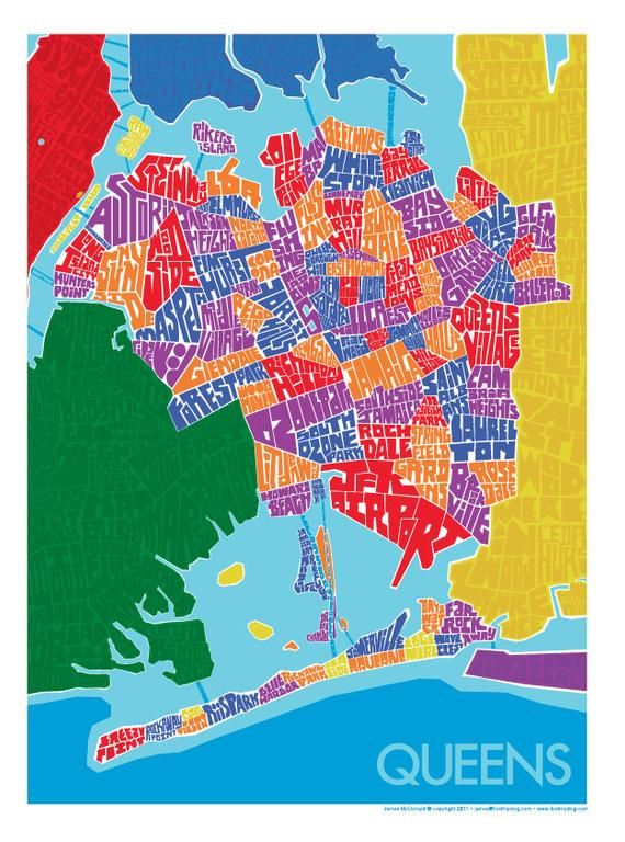 Map New York Queens Neighborhoods.Queens Neighborhood Type Map In 2019 Products Types Of Lettering