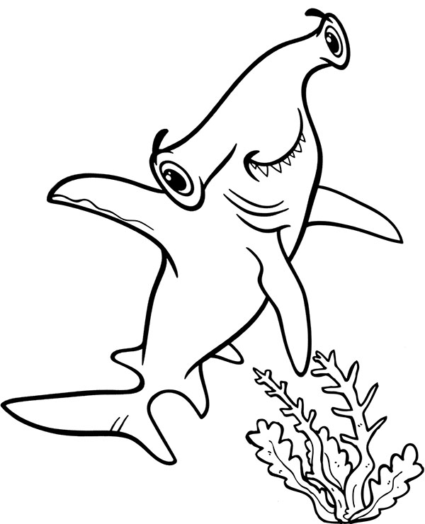 Hammerhead Shark Coloring Page Sheet To Print Or Download Fish Coloring Page Free Coloring Page Templa Shark Coloring Pages Fish Coloring Page Coloring Pages