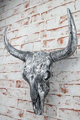 Deko Schadel Silber Antik Stierkopf Skullptur 46 Cm Geweih Stier