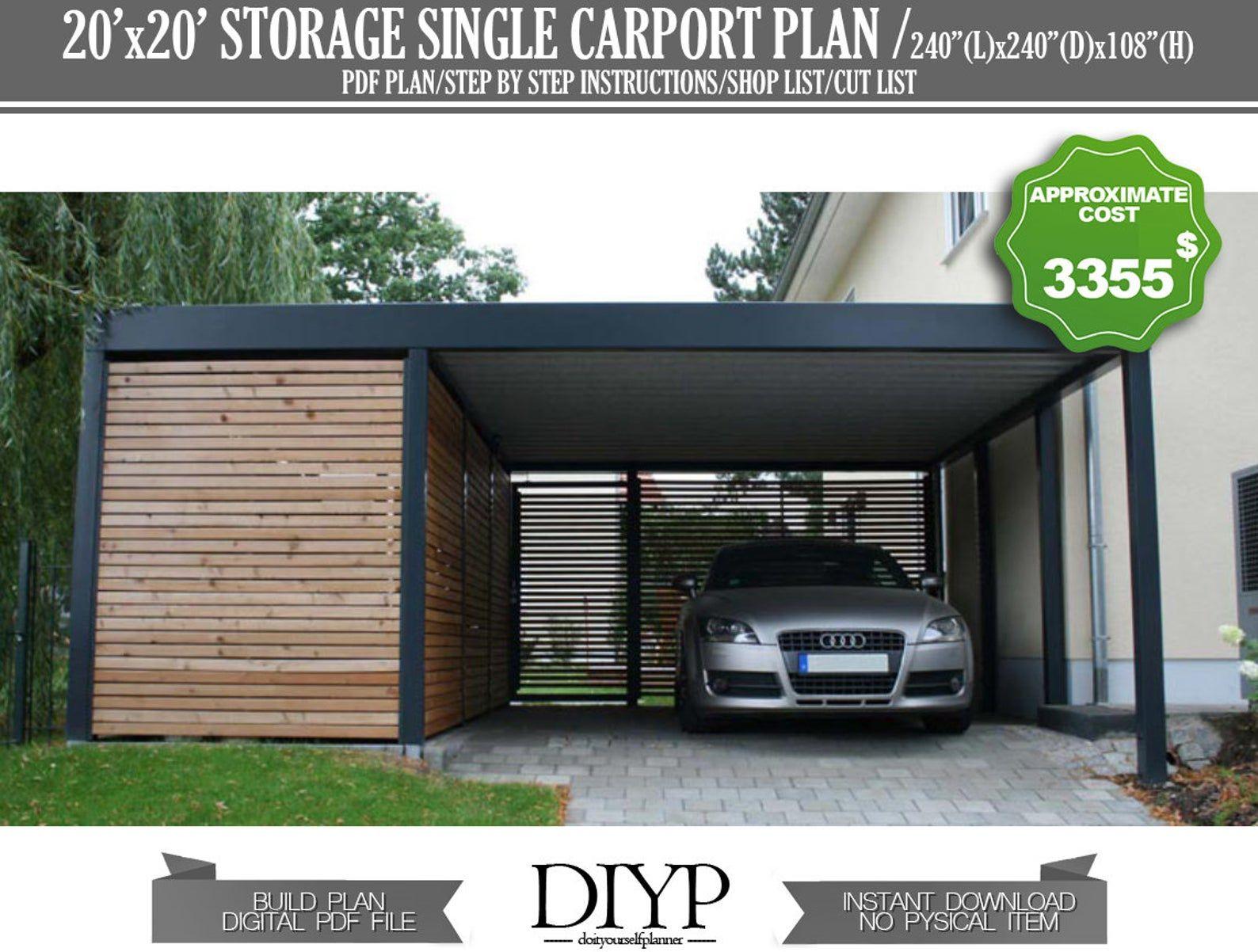 Car Garage Build Plan Single Car Port Plans Carport With Storage Plan Carport Shed Build A Carport Diy Garage Plans 20x20 Shed In 2021 Modern Garage Garage Design Modern Garage Design