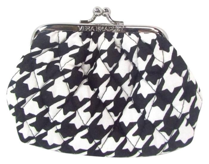Vera Bradley Midnight Houndstooth Kiss Kiss Black Wristlet 22% off retail