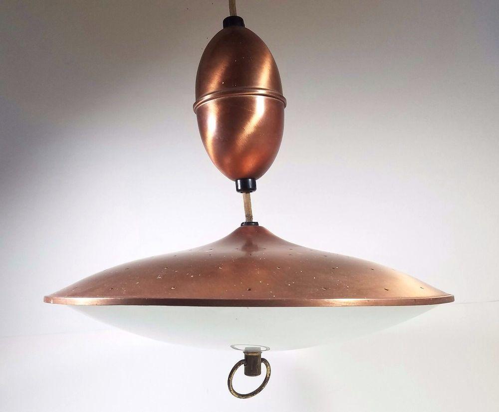 Midcentury atomic copper flying saucer ufo pull down ceiling light midcentury atomic copper flying saucer ufo pull down ceiling light fixture eames arubaitofo Gallery