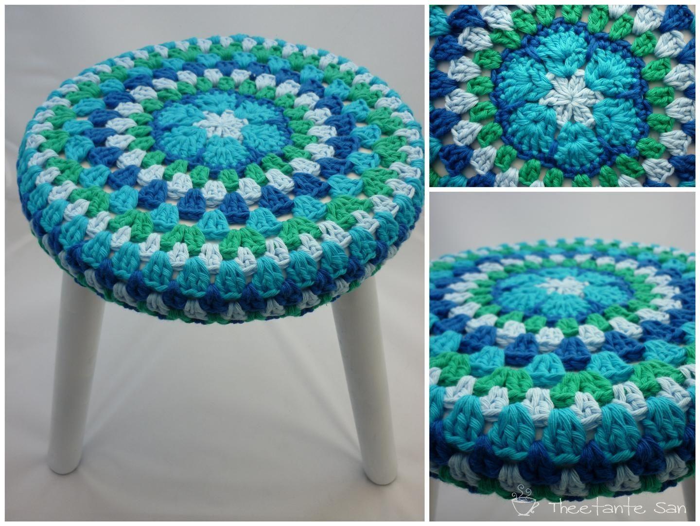 Round Crochet Stool Cover