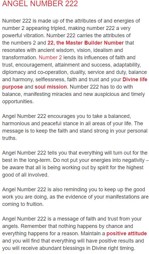 ANGEL NUMBERS Joanne Sacred Scribes ANGEL NUMBER 222