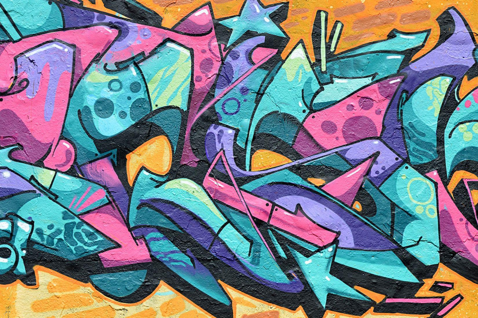 Complex graffiti wallpaper mural in 2020 graffiti wall