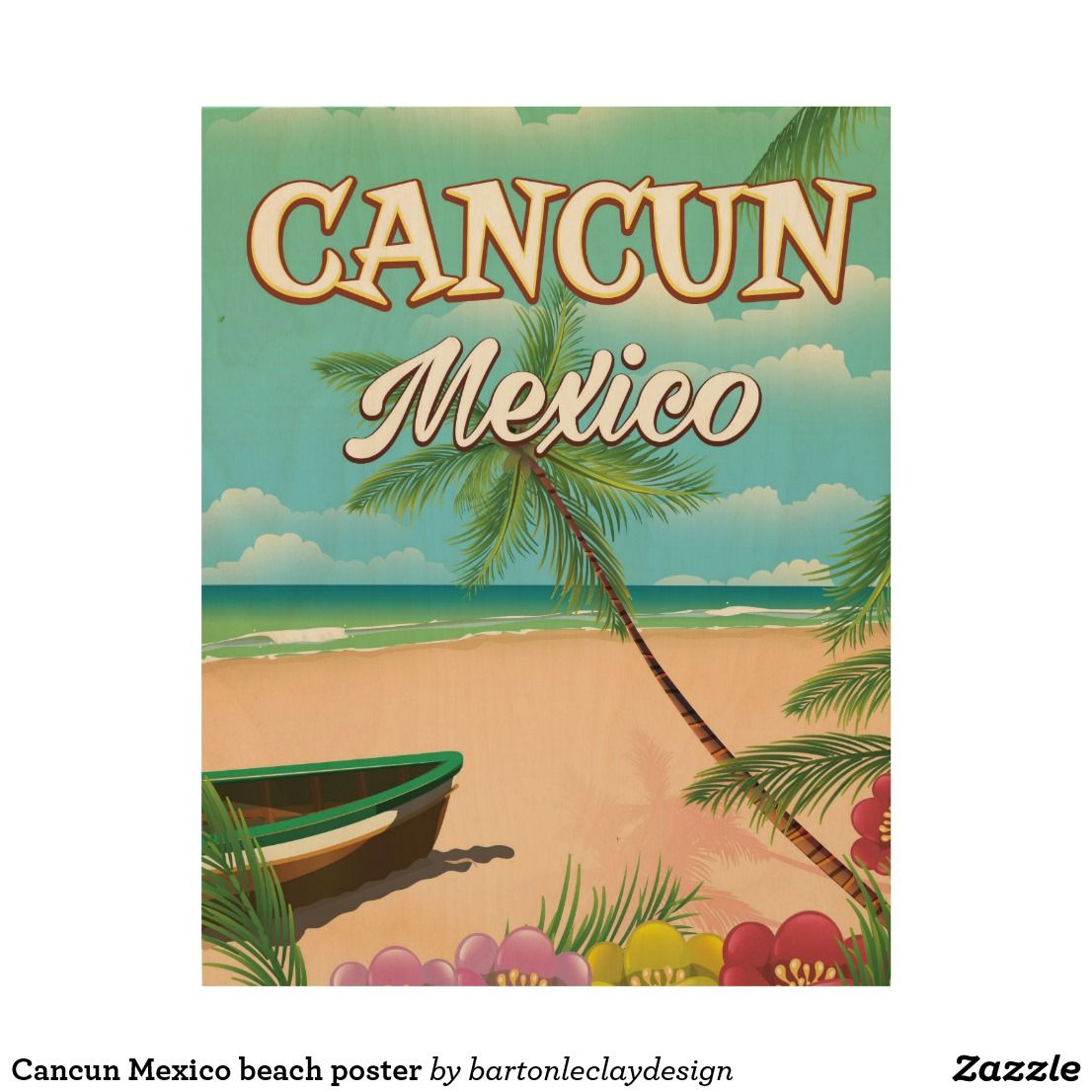 Cancun Mexico Beach Poster Zazzle Com In 2021 Beach Posters Vintage Travel Posters Posters Art Prints